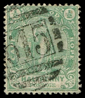 Lot 18561:615: of Sour Flats on 1893 ½d green.