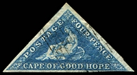 Lot 19976:1855-63 Triangles Perkins Bacon Printing SG #6a 4d blue, 3-margin, Cat £80.