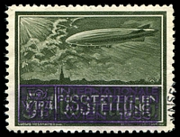 Lot 3:Austria: 1933 WIPA grey-green Zeppelin with the base inscription obliterated to read '5? AUSTELLUNG'.