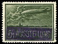 Lot 47:Austria: 1933 WIPA grey-green Zeppelin with the base inscription obliterated to read '5? AUSTELLUNG'.