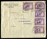 Lot 3634:1938 (Apr 2) use of 50c Musicians x5 on cover from the Congo Balolo Mission, Basankusu to Scotland, some toning on stamps.