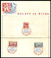 Lot 3377:1935 17th Anniversary of the Republic 3 stamps on special sheet cancelled with bi-colour 'PRAHA 1/28-X-35-12/a/OSLAVY 28. RIJNA', lightly soiled and 2 horizontal creases, unusual.
