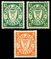 Lot 19105:1924-38 Definitives SG #178a,179a,179e 5p orange, 10p green & 10p blue-green, all with interrupted perfs, Cat £91.