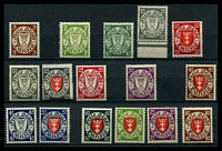 Lot 3387:1924-38 Definitives Mi #193-250 Range 3p, 7p, 10p green, 15p grey, 20p (both), 25p (both), 30p purple, 40p vermilion & brown, 40p deep blue, 50p, 60p, 70p, 75p & 80p, Cat €400+.