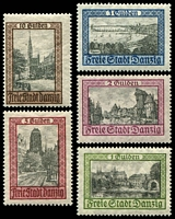Lot 3388:1924 Buildings Mi #207-11 set of 5, Cat €600.