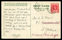 Lot 3470 [1 of 2]:1909 (Dec 16) use of 1d KEVII on PPC to New Zealand.