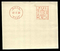 Lot 3551:1930 (Jan 22) proof impression of Fiji's first meter cancel. Rare and unusual.