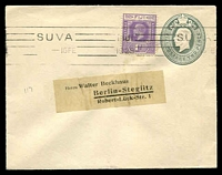 Lot 21064:1921 KGV HG #B3 2d grey with rounded flap, uprated with 1d violet KGV, 1928 (Feb 16) use to Germany. Duberal only records one used cover from this 2nd group of printings.