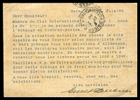 Lot 22687 [2 of 2]:1948 Von Stephen Mi #P965 12(pf) greish turquoise, use from Gera to Saigon, uprated stamps removed, printed message in French asking about exchanging stamps. Unusual.