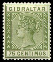 Lot 22815:1889-96 Spanish Currency SG #29 75c olive-green, Cat £32.