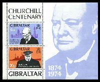 Lot 3535:1974 Churchill Centenary SG #339 se-tenant vertical pair miniature sheet.