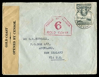 "Lot 3555:1940s use of 2d slate on censored cover to NZ ""via UK"", type 1A censor 6 on face and type 1A reseal label at left."
