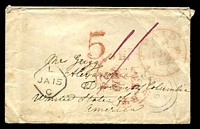 Lot 3590 [1 of 2]:1852 (Jan 14) stampless cover from Truro to USA, unusual rounded-diamond 'L/JA15/C' on face.