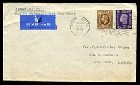 "Lot 3595:1939 (May 27) Southampton to New York, endorsed ""First Flight/North Atlantic Air Service""."