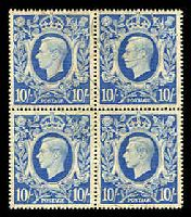 Lot 3563:1939-48 KGVI High Values SG #478a 10/- ultramarine block of 4, light crayon marks and very fine cds.