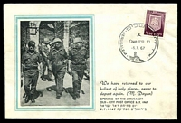 Lot 4035:Jerusalem: special Moshe Dayan unaddressed cover for opening day on 5.7.67.
