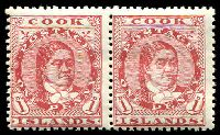 Lot 3354:1913-19 Wmk NZ/Star SG #41 1d red pair P14x14½, Cat £18.