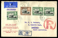Lot 4066 [1 of 2]:1952 Royal Visit 10c x3 & 1/- on registered air cover from Nairobi to South Australia, flap removed.
