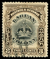 Lot 24809:1902-03 Crown SG #119 3c black & sepia P13½-14 with Printer's mark at right, CTO cancel.