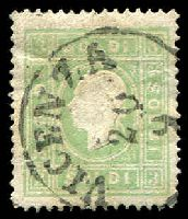 Lot 3809:1858 New Currency Type II SG #18B 3s green, small tear at right, Cat £80
