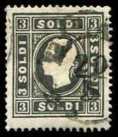 Lot 3902:1858 New Currency Type I SG #17A 3s black, 1mm cut at base, Cat £300.