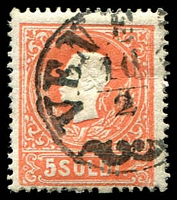 Lot 4103:1858 New Currency Type I SG #19A 5s red, Cat £22.