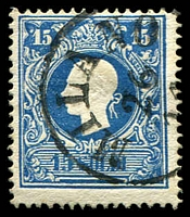 Lot 4104:1858 New Currency Type I SG #21A 15s blue, Cat £120.