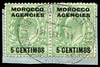 Lot 4173:Casablanca: oval 'REGISTERED/12JU11/BRITISH POST OFFICE. CASABLANCA' on 5c on ½d green KEVII pair.
