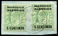 Lot 23064:Mogador: framed 'BRITISH POST OFFICE/*/FE6/12/MOGADOR' on 5c on ½d green KEVII x2.