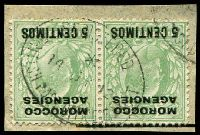 Lot 23066:Rabat: oval 'REGISTERED/*/14JY12/BRITISH POST OFFICE. RABAT' on 5c on ½d green KEVII pair.