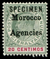 Lot 25576:1903-05 Ovpt T2 Wmk Crown/CA SG #19s 20c grey-green & carmine ovpt 'SPECIMEN'.