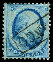 Lot 4379:1864 SG #8 5c blue (Haarlem printing), Cat £22.