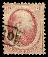 Lot 25667:1864 SG #9 10c rose (Haarlem printing), Cat £11.