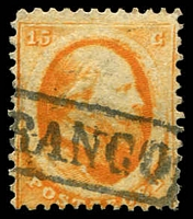 Lot 25365:1864 SG #10 15c orange (Utrecht printing), Cat £130.