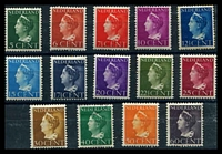 Lot 4016:1940-47 Wilhelmina SG #506-15b set of 14, 40c VFU, 25c toning, Cat £32