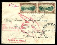 "Lot 3999 [1 of 2]:1948 (Apr 23) use of ½d Peace pair on unsealed cover from Waharoa to ""Rural Delivery/Morrinsville"". Boxed 'NOT FOUND' & 'No box on rural.' and RTS hand all on face."