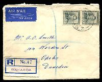 Lot 4001:1951 (Jun 12?) use of 5d slate KGVI pair on registered air cover from Waharoa to Dunedin.