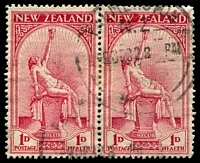 Lot 4223:1932 Health SG #552 1d+1d Hygaeia pair, Cat £60.