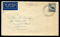 Lot 1290:Katherine (2): - 'KATHERINE/3JA44/NORTH·AUST' on 5½d on air cover to Adelaide.  Renamed from Emungalan PO 13/6/1927.