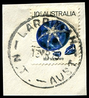 Lot 1122:Larrimah: 'LARRIMAH/13MR75/N.T.-AUST' on 10c Sapphire on piece.  TO 1/7/1946; PO 1/6/1953; closed 2/7/1979.