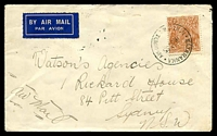 Lot 1623 [1 of 2]:Mataranka (1): - 'MATARANKA/10OC35/NORTHERN TERRITORY' on 5d KGV on air cover to Sydney.  Renamed from Mattaranka TO c.1923; PO c.1930; closed 3/8/1942.