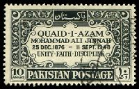 Lot 23292:1949 Mohammed Ali Jinnah Death SG #54 10a black.