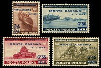Lot 4185:1944 Monte Cassino SG #494-7 set of 4, odd toned perf, Cat £60.