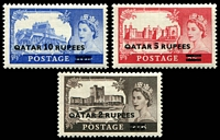 Lot 27037:1957-59 Castles SG #13-5 set of 3 with Type 1 ovpts, Cat £17.