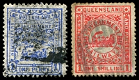 Lot 1645:1903 4th Series 3rd Issue Wmk Train 1d blue P11x12 & 1/- rose-red P12, Cat #4.1334,1337.
