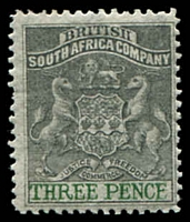 Lot 27050:1892-94 Bi-Colour Arms Perf 14,14½ SG #21 3d grey-black & green, Cat £22.