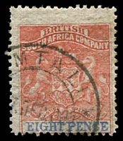 Lot 27054:1892-94 Bi-Colour Arms Perf 14,14½ SG #24 8d red & ultramarine, Cat £22.
