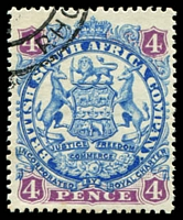 Lot 4189:1896-97 Scroll Behind Legs Die II SG #44 4d ultramarine & mauve, Cat £13.