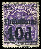 Lot 4083:1909-11 Surcharges SG #117 10d on 3/- deep violet, surcharge in black, Cat £18.