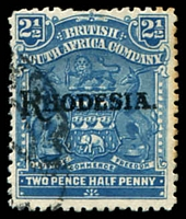 Lot 4191:1909-12 'RHODESIA' Overprint SG #103 uncatalogued 2½d deep dull blue, (var).